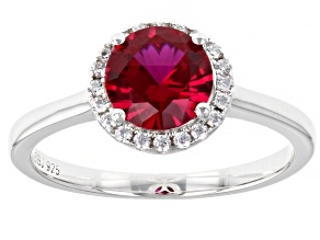 Lab Created Ruby And White Cubic Zirconia Rhodium Over Sterling Silver Ring 1.80ctw