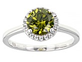 Green And White Cubic Zirconia Rhodium Over Sterling Silver Ring 2.64ctw