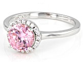 Pink And White Cubic Zirconia Rhodium Over Sterling Silver Ring 2.59ctw