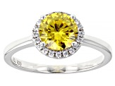 Yellow And White Cubic Zirconia Rhodium Over Sterling Silver Ring 2.48ctw