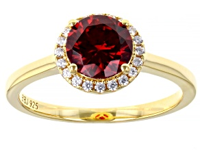 Red And White Cubic Zirconia 18k Yellow Gold Over Silver Ring 2.25ctw
