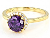 Purple And White Cubic Zirconia 18k Yellow Gold Over Sterling Silver Ring 2.53ctw