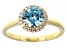 Light Blue And White Cubic Zirconia 18k Yellow Gold Over Sterling Silver Ring 2.29ctw