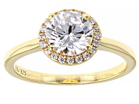 White Cubic Zirconia 18k Yellow Gold Over Sterling Silver Ring 2.56ctw