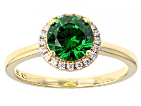 Green And White Cubic Zirconia 18k Yellow Gold Over Sterling Silver Ring 2.21ctw