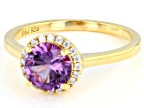 Lab Created Color Change Sapphire And White Cubic Zirconia 18k Yellow Gold Over Sterling Silver Ring