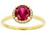 Lab Created Ruby and White Cubic Zirconia 18k Yellow Gold Over Sterling Silver Ring 1.80ctw
