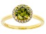 Green And White Cubic Zirconia 18k Yellow Gold Over Sterling Silver Ring 2.64ctw
