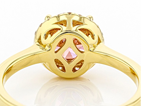 Pink And White Cubic Zirconia 18k Yellow Gold Over Sterling Silver Ring 2.59ctw