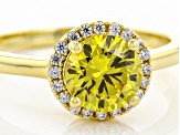 Yellow And White Cubic Zirconia 18k Yellow Gold Over Sterling Silver Ring 2.48ctw