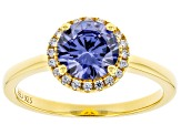 Blue And White Cubic Zirconia 18k Yellow Gold Over Sterling Silver Ring 2.40ctw