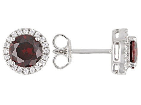 Red And White Cubic Zirconia Rhodium Over Sterling Silver Earrings 2.80ctw