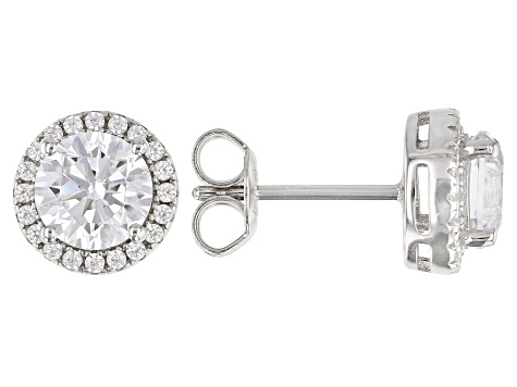 White Cubic Zirconia Rhodium Over Sterling Silver Earrings 2.80ctw