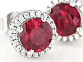 Lab Created Ruby And White Cubic Zirconia Rhodium Over Sterling Silver Earrings 2.34ctw