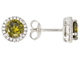 Green And White Cubic Zirconia Rhodium Over Sterling Silver Earrings 2.80ctw