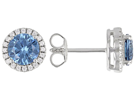 Blue And White Cubic Zirconia Rhodium Over Sterling Silver Earrings 2.80ctw