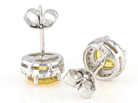 Yellow And White Cubic Zirconia Rhodium Over Sterling Silver Earrings 2.80ctw
