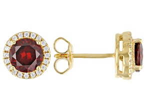 Red And White Cubic Zirconia 18k Yellow Gold Over Sterling Silver Ring 2.80ctw