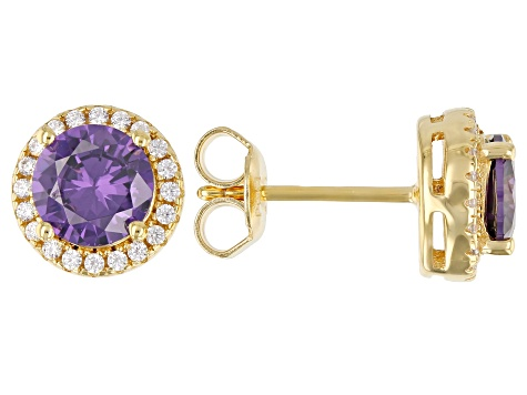 Purple And White Cubic Zirconia 18k Yellow Gold Over Sterling Silver Earrings 2.80ctw
