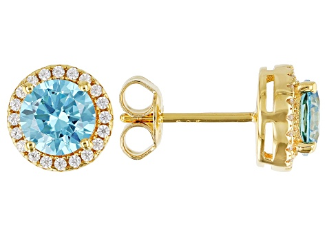 Light Blue And White Cubic Zirconia 18k Yellow Gold Over Sterling Silver Earrings 2.80ctw