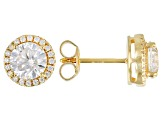 White Cubic Zirconia 18k Yellow Gold Over Sterling Silver Earrings 2.80ctw