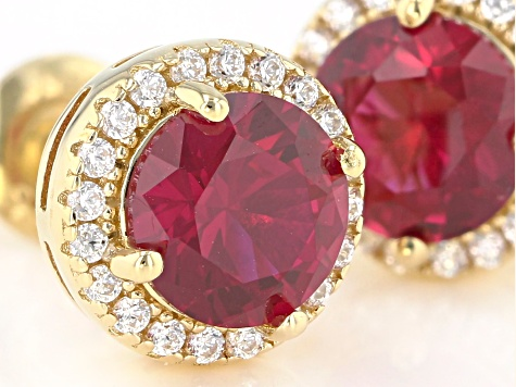 Lab Created Ruby And White Cubic Zirconia 18k Yellow Gold Over Sterling Silver Earrings 2.34ctw