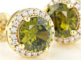 Green And White Cubic Zirconia 18k Yellow Gold Over Sterling Silver Earrings 2.80ctw