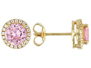 Pink And White Cubic Zirconia 18k Yellow Gold Over Sterling Silver Earrings 2.80ctw