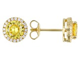 Yellow And White Cubic Zirconia 18k Yellow Gold Over Sterling Silver Earrings 2.80ctw
