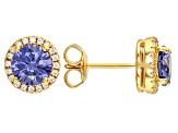 Blue And White Cubic Zirconia 18k Yellow Gold Over Sterling Silver Earrings 2.80ctw