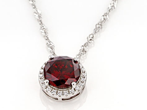 Red And White Cubic Zirconia Rhodium Over Sterling Silver Pendant With Chain 3.72ctw