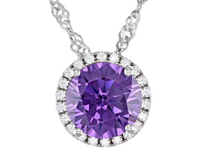 Purple And White Cubic Zirconia Rhodium Over Sterling Silver Pendant With Chain 3.81ctw