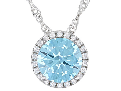 Light Blue And White Cubic Zirconia Rhodium Over Sterling Silver Pendant With Chain 3.41ctw