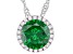 Green And White Cubic Zirconia Rhodium Over Sterling Silver Pendant With Chain 3.31ctw