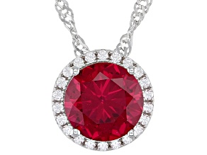 Lab Created Ruby And White Cubic Zirconia Rhodium Over Sterling Silver Pendant With Chain 2.41ctw