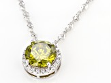 Green And White Cubic Zirconia Rhodium Over Sterling Silver Pendant With Chain 3.54ctw