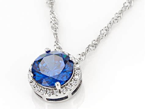 Blue And White Cubic Zirconia Rhodium Over Sterling Silver Pendant With Chain 3.51ctw