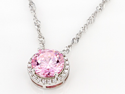 Pink And White Cubic Zirconia Rhodium Over Sterling Silver Pendant With Chain 3.72ctw