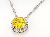 Yellow And White Cubic Zirconia Rhodium Over Sterling Silver Pendant With Chain 3.72ctw