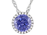 Blue And White Cubic Zirconia Rhodium Over Sterling Silver Pendant With Chain 3.56ctw