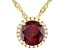 Red And White Cubic Zirconia 18k Yellow Gold over Sterling Silver Pendant With Chain 3.72ctw