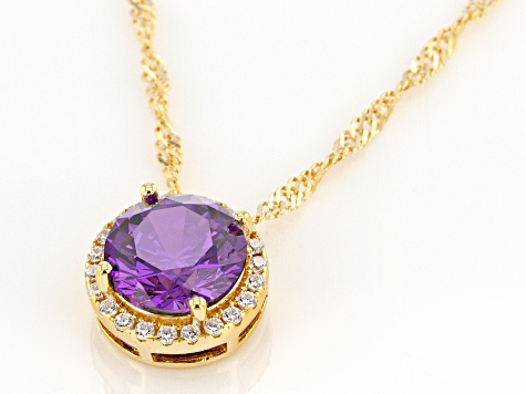 Purple And White Cubic Zirconia 18k Yellow Gold Over Sterling Silver Pendant With Chain 3.81ctw