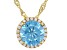 Light Blue And White Cubic Zirconia 18k Yellow Gold Over Sterling Silver Pendant With Chain 3.41ctw