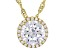 White Cubic Zirconia 18k Yellow Gold Over Sterling Silver Pendant With Chain 3.73ctw