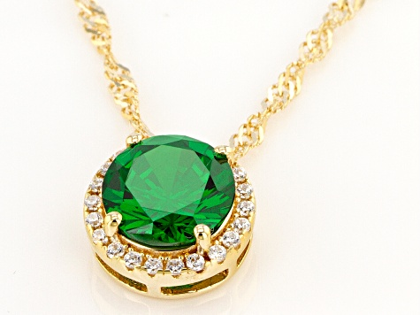 Green And White Cubic Zirconia 18k Yellow Gold Over Sterling Silver Pendant With Chain 3.31ctw