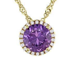Lab Color Change Sapphire & White Cubic Zirconia 18k Yellow Gold Over Silver Pendant With Chain