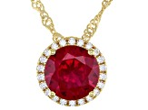 Lab Created Ruby and White Cubic Zirconia 18k Yellow Gold Over Silver Pendant With Chain 2.41ctw