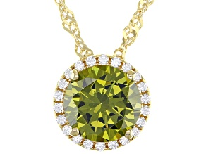 Green And White Cubic Zirconia 18k Yellow Gold Over Sterling Silver Pendant With Chain 3.54ctw