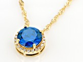 Blue And White Cubic Zirconia 18k Yellow Gold Over Silver pendant With Chain 3.51ctw