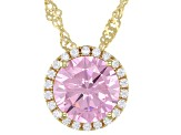 Pink And White Cubic Zirconia 18k Yellow Gold Over Sterling Silver Pendant With Chain 3.72ctw